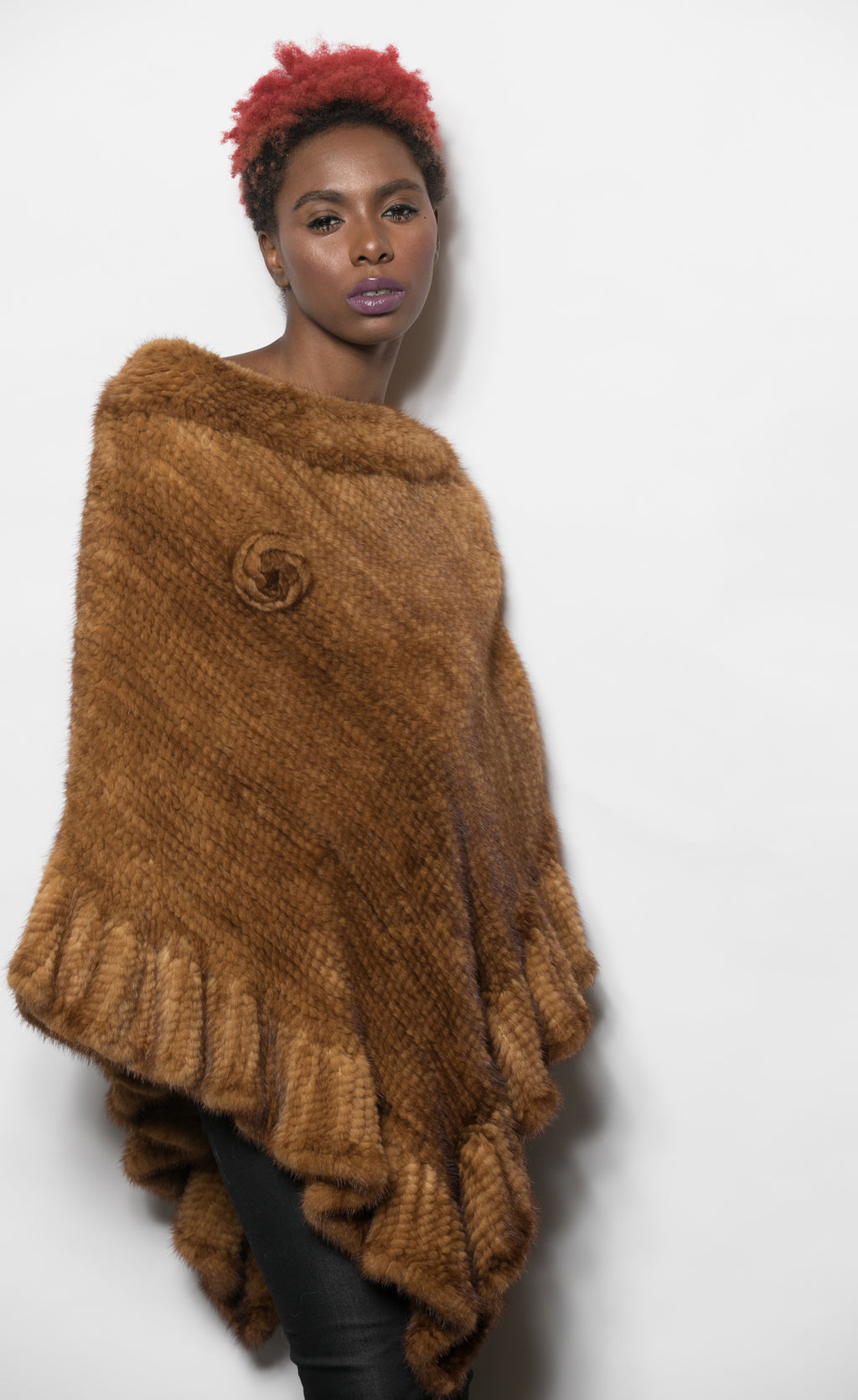 FUR Golden Ranch Knitted Mink Poncho