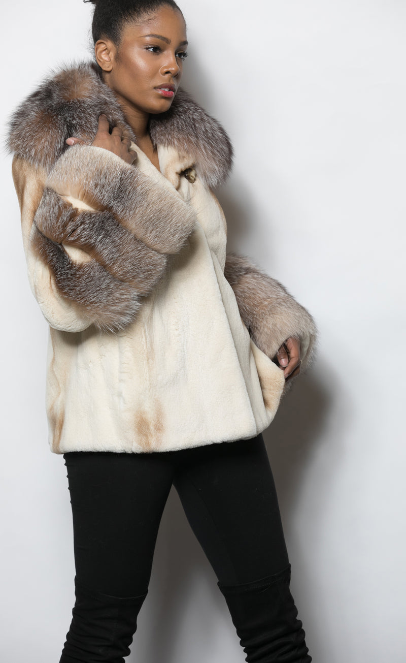 FUR Golden White Sheared Mink Crystal Fox Collar and Sleeve Cuffs