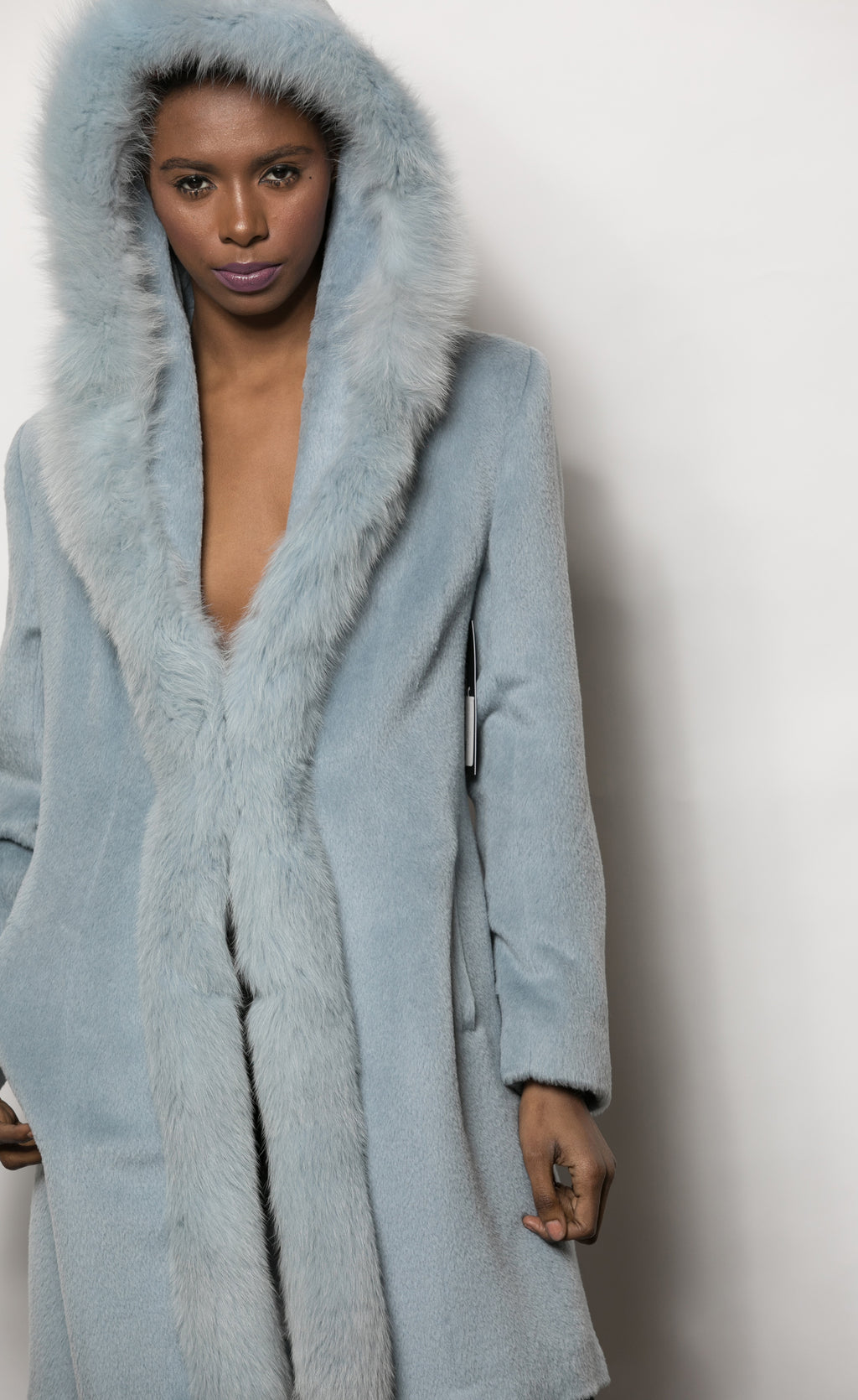 FUR Lightblue Cashmere Coat w Hood 1195 8