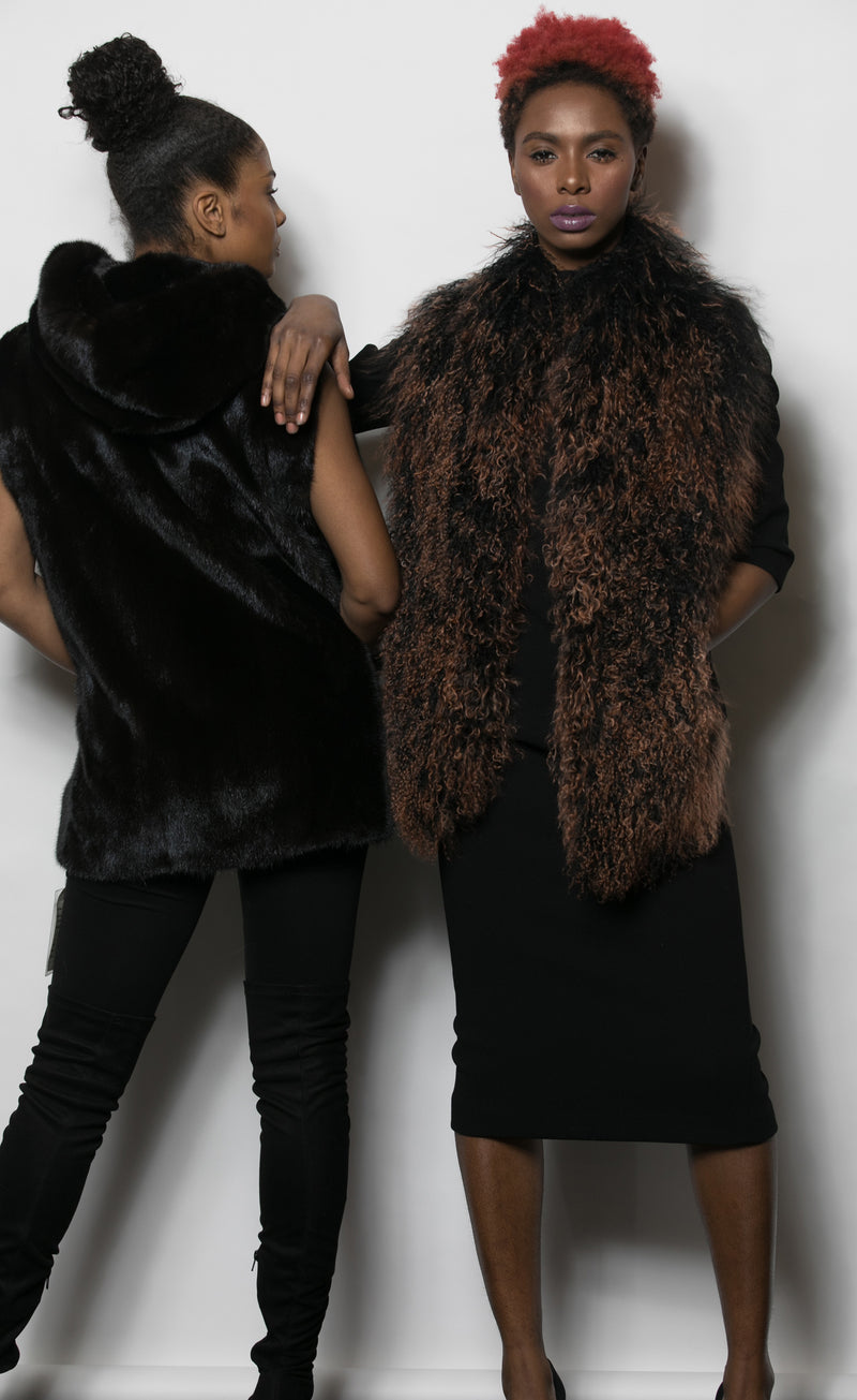 FUR Mink Vest w Hood backview 5895 Curly Haired Faux Fur Vest