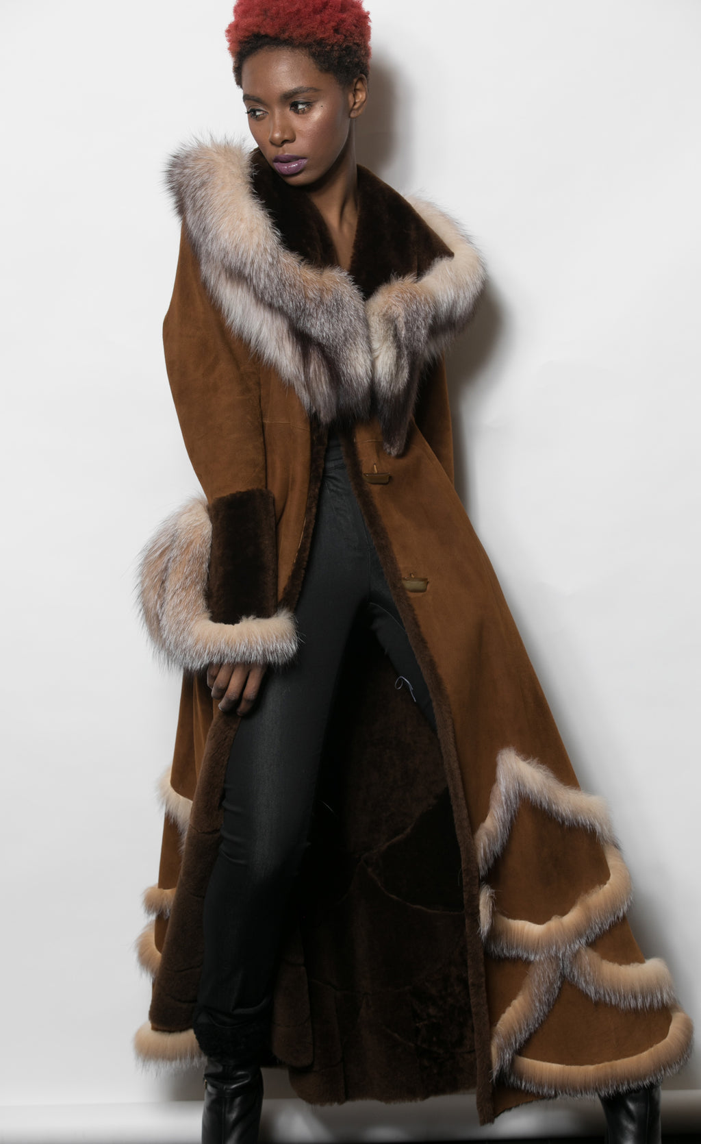 FUR Mocha Shearling Maxi with Crystal Fox Trim
