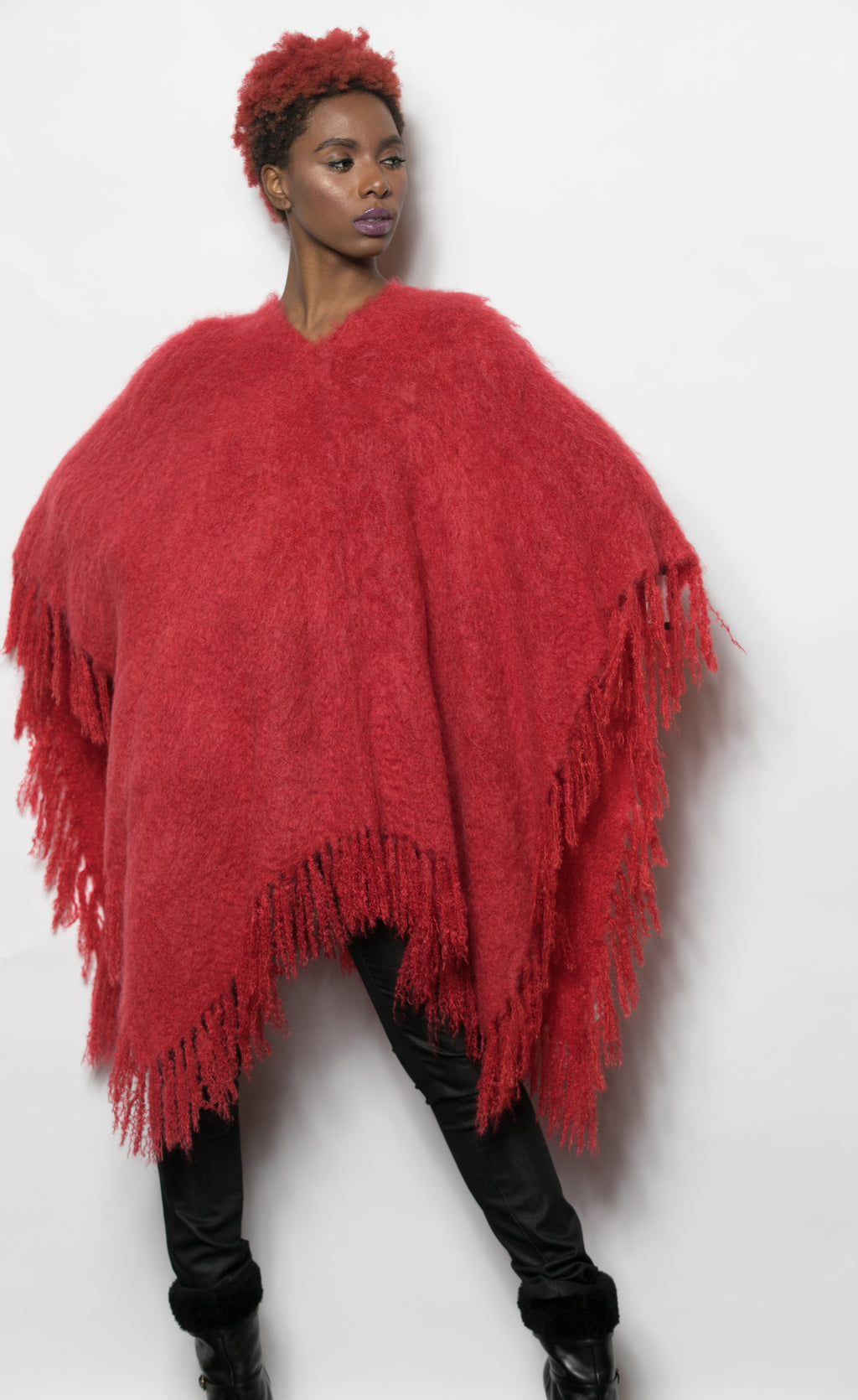FUR Mongolian Knit Poncho Red