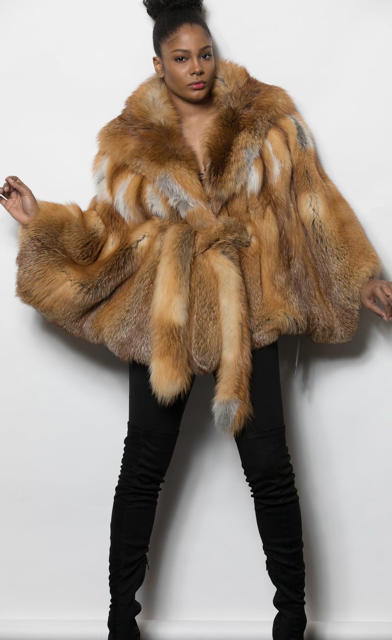 FUR Red Fox Cape with Hood