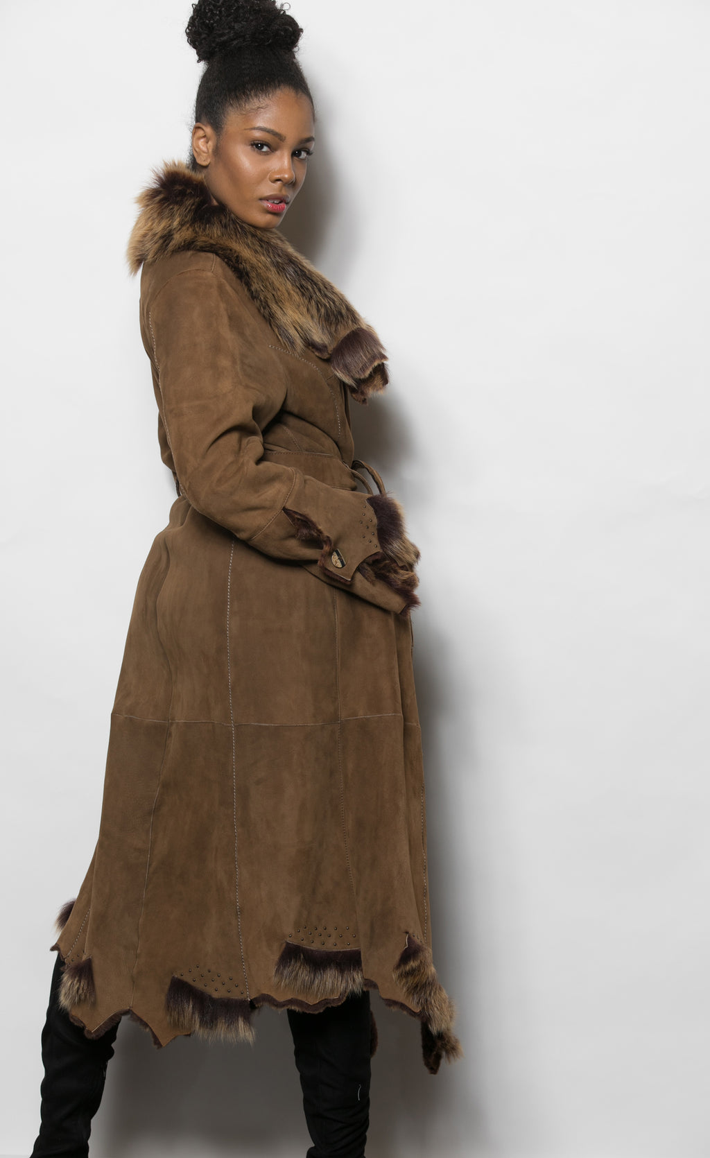 FUR Shearling Coat Brown Assym Hem backview 2295 M