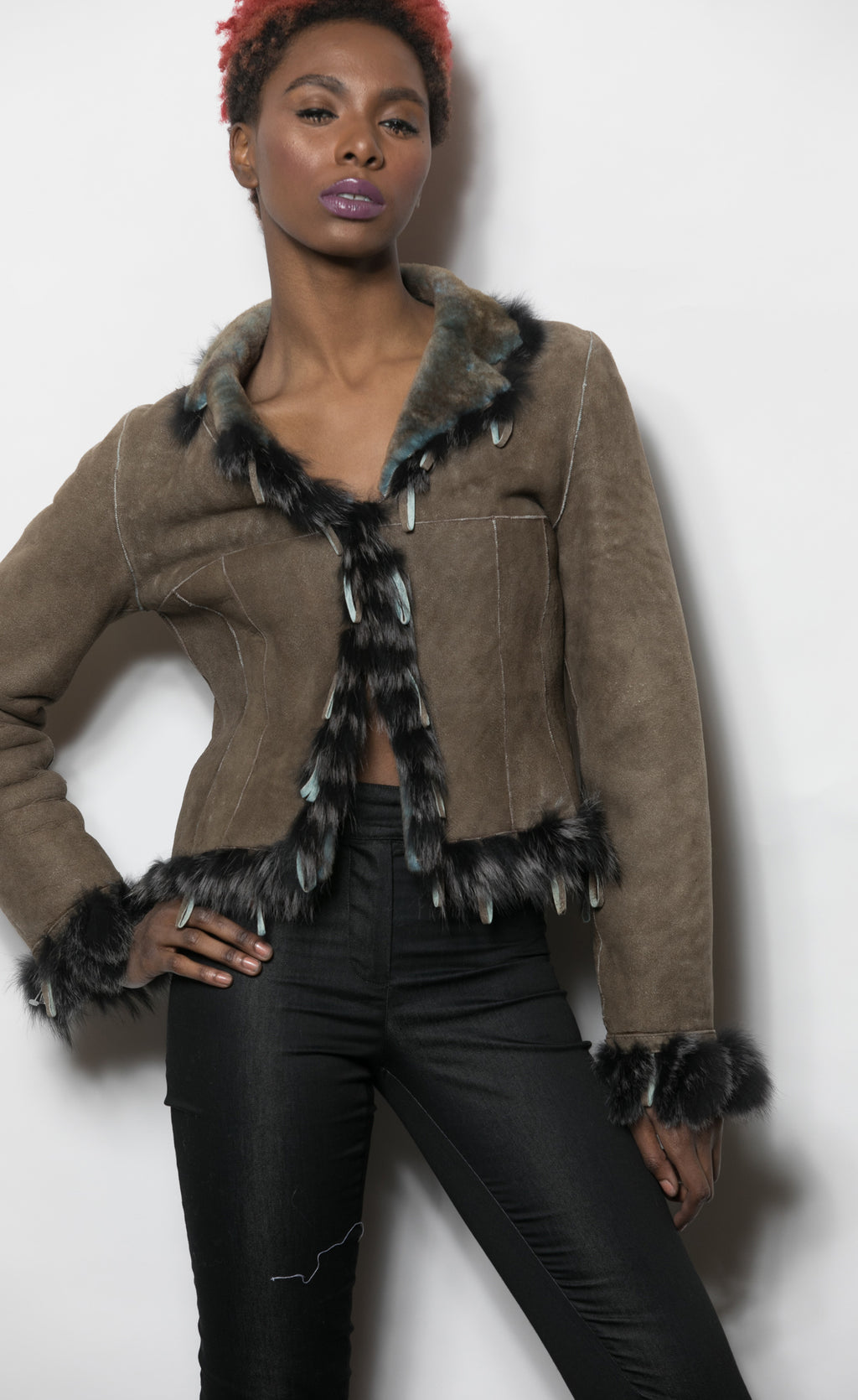 FUR Shearling Dark Taupe and Blue Jkt w Loop trim 2100 S