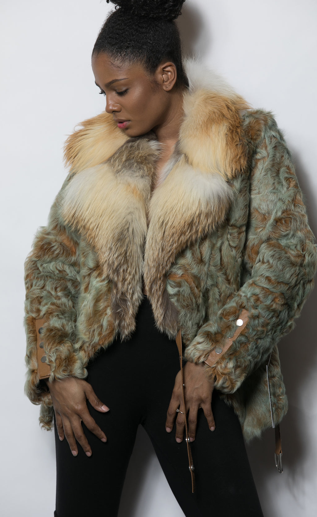 FUR Swakara Golden Greenish Jacket with Fox Collar