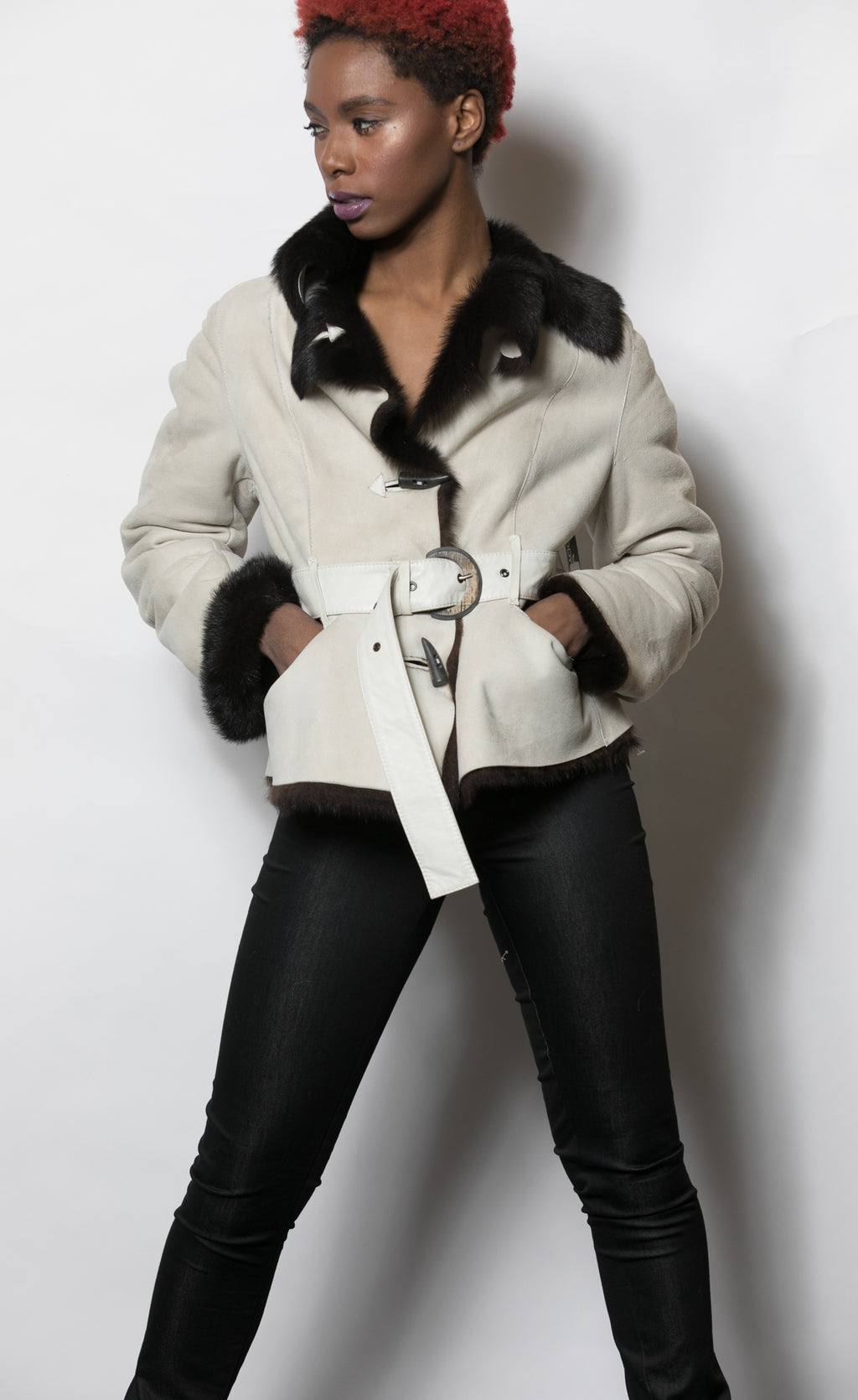 Winter White Shearling Jacket with Chocolate Collar