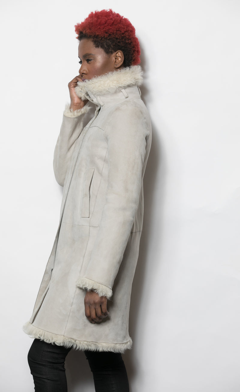 FUR Light Grey Shearling with Curly Tuscar