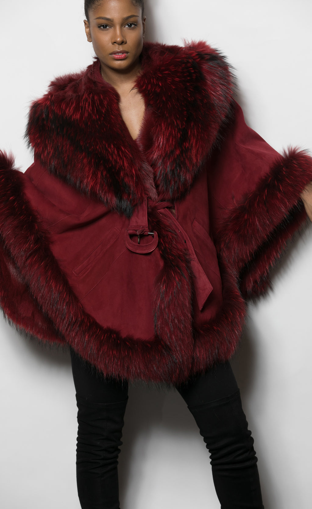 FUR Wine bltd Cape w DTM Fox Trim Hood