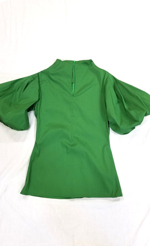 Green Cotton/Lycra Shirt with Slit front Neckline Puffed Sleeves