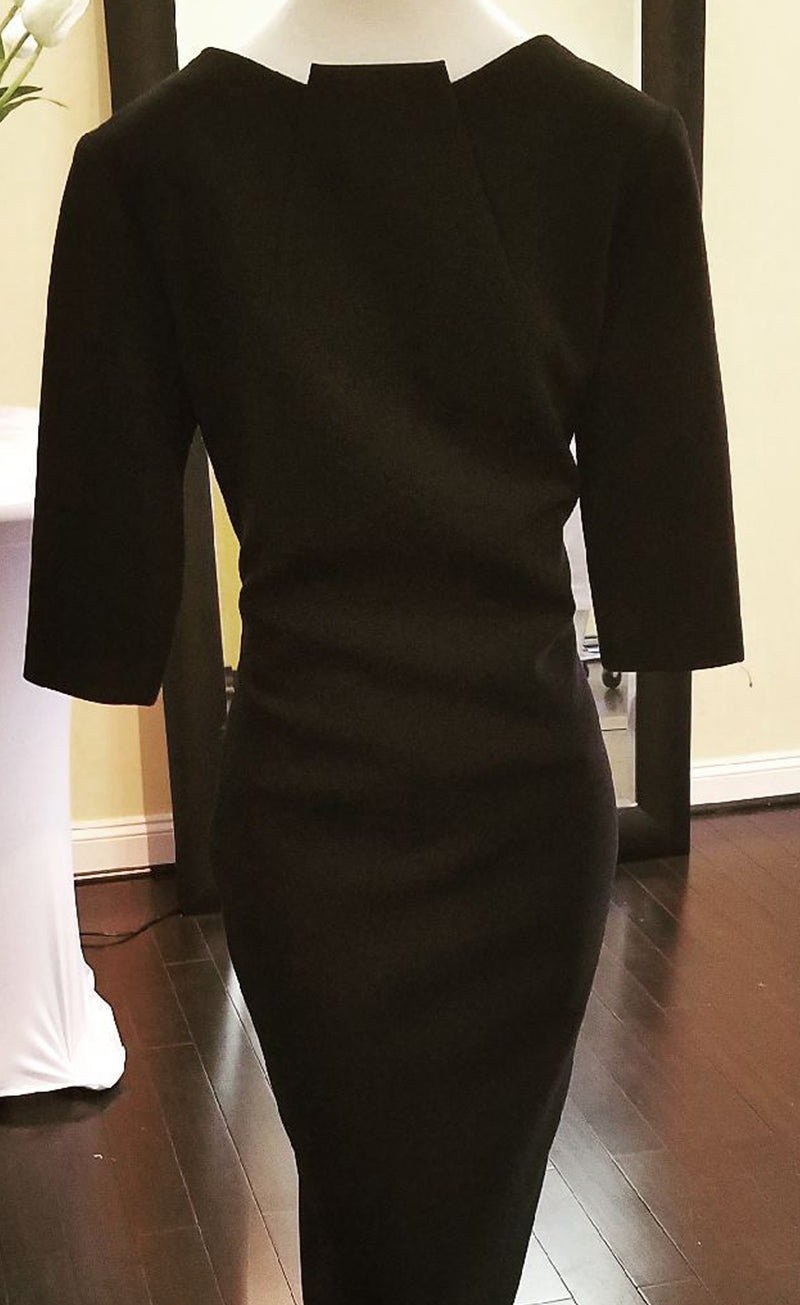 Black Center Highneck Dress with fitted 3/4 Sleeve
