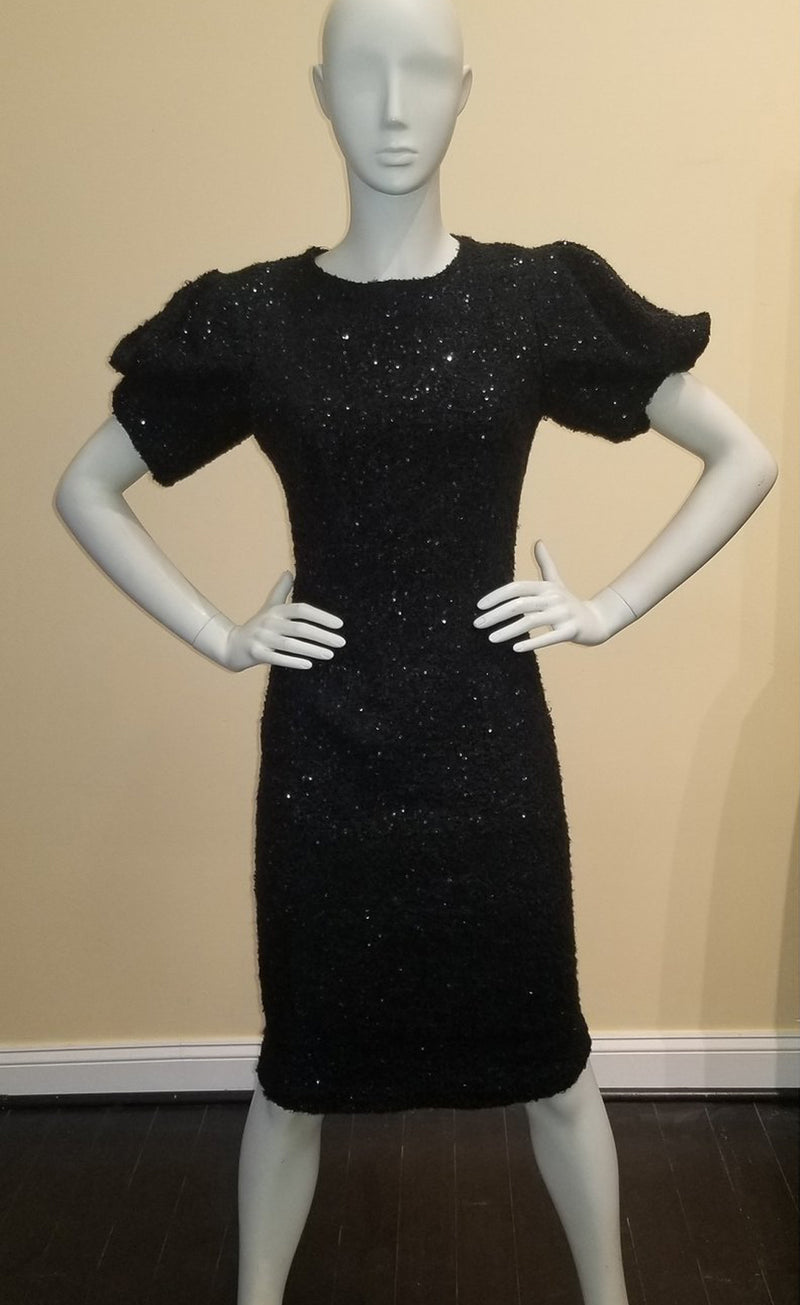 Semi-fitted Sequin Knit Dress with Puffed Sleeve