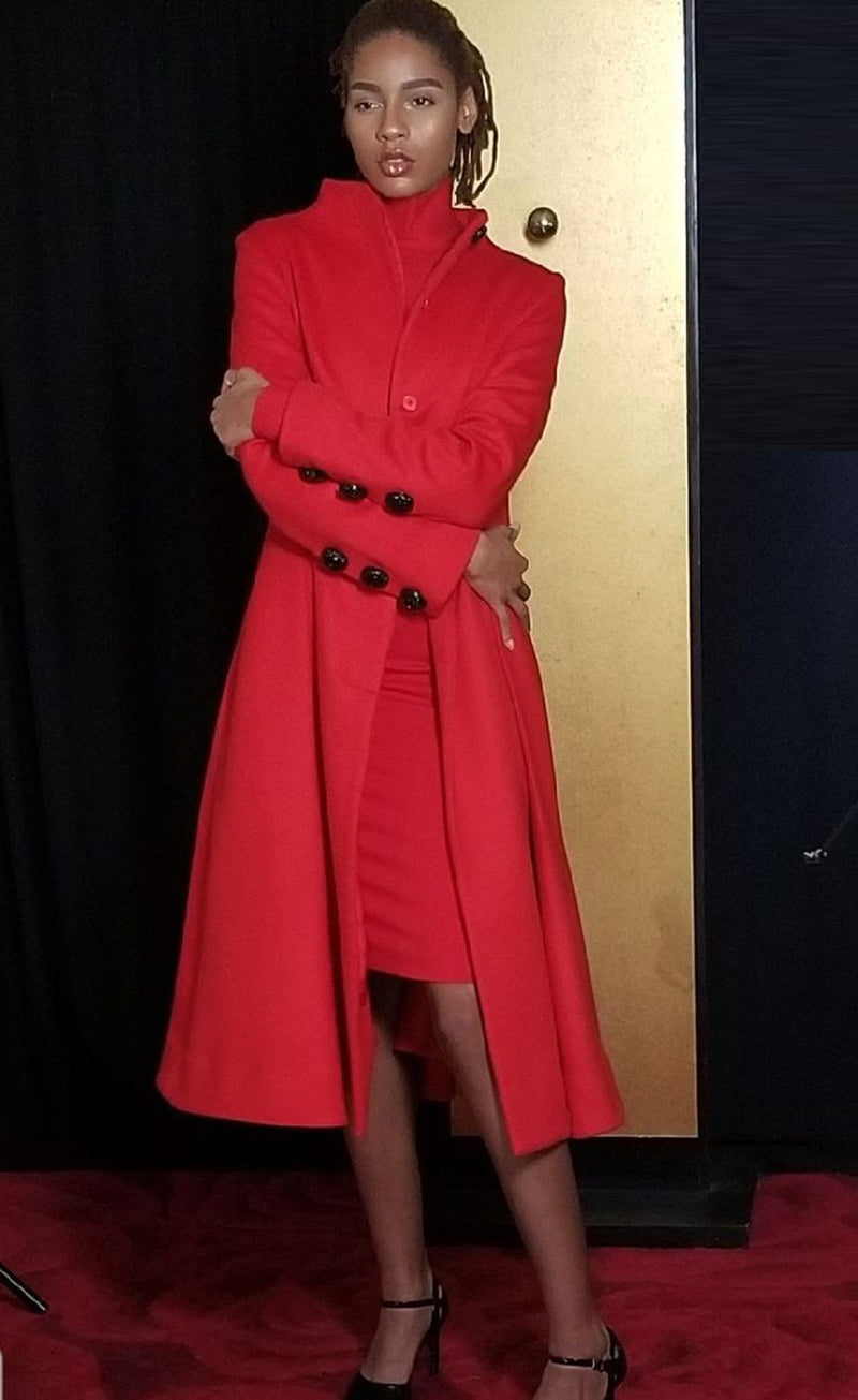 Red Wool Cashmere Coat