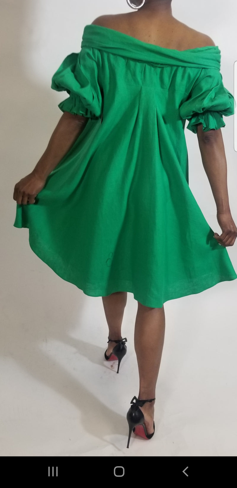 Off the Shoulder Green Swing Dress