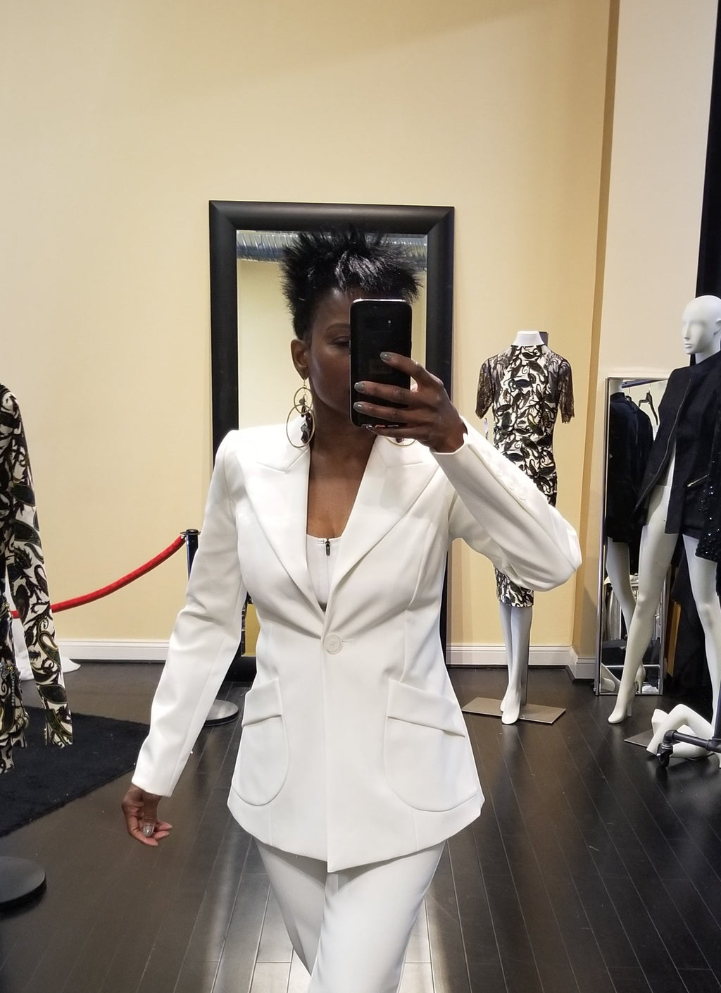 Pant Suit White Jacket Semi-fitted Neoprene