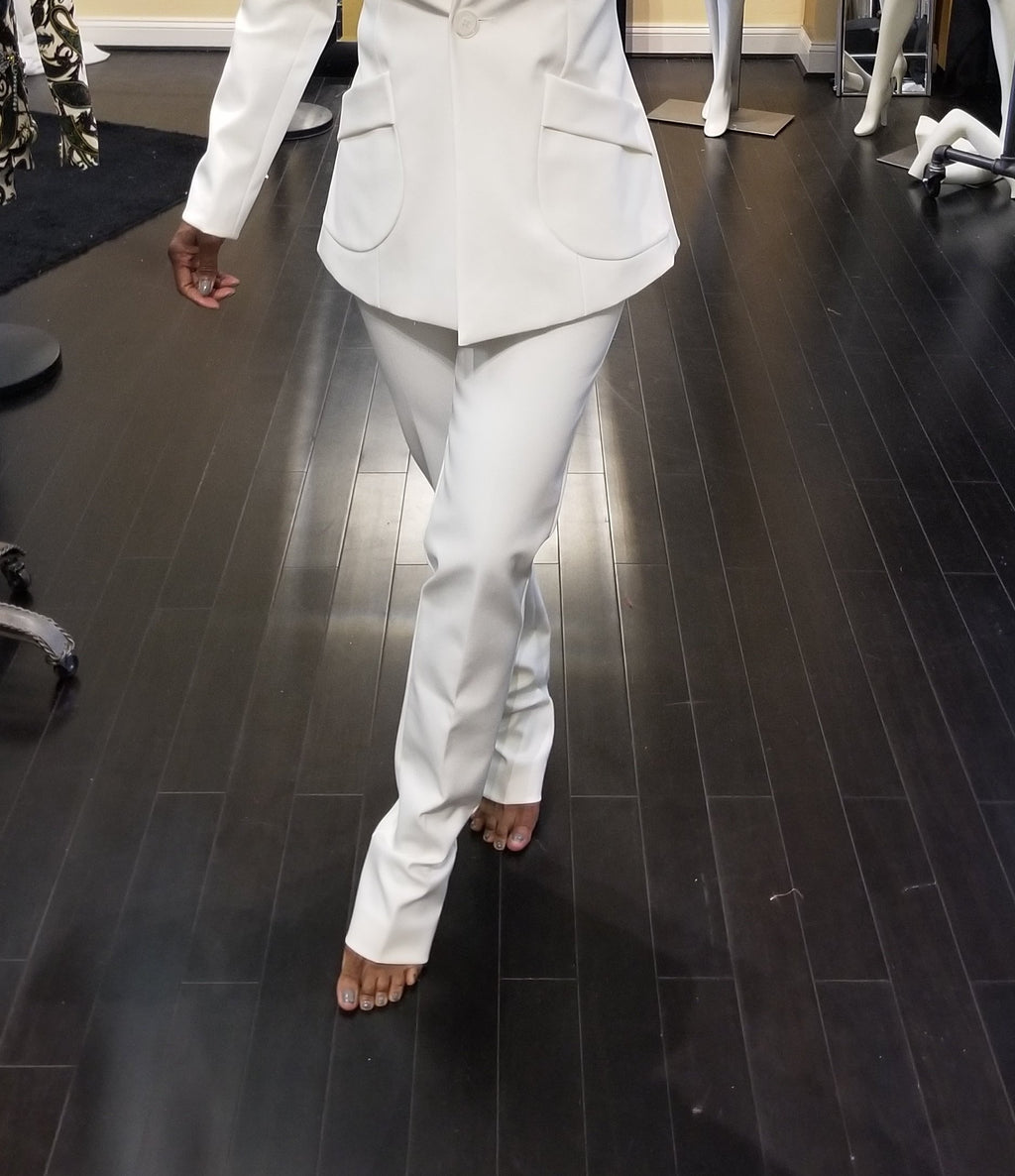 Pant Suit White Neoprene Tapered Pant