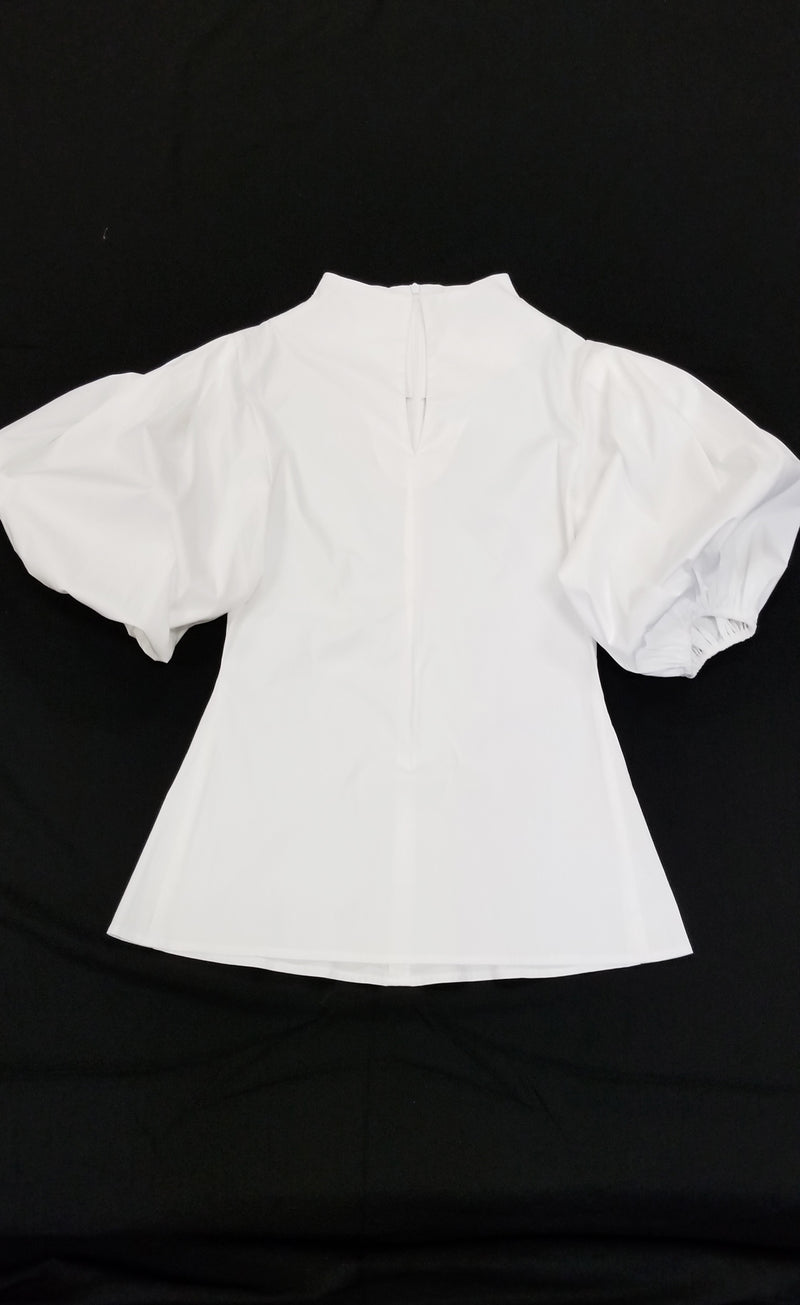 White Cotton/Lycra Shirt with Slit front Neckline Puffed Sleeves