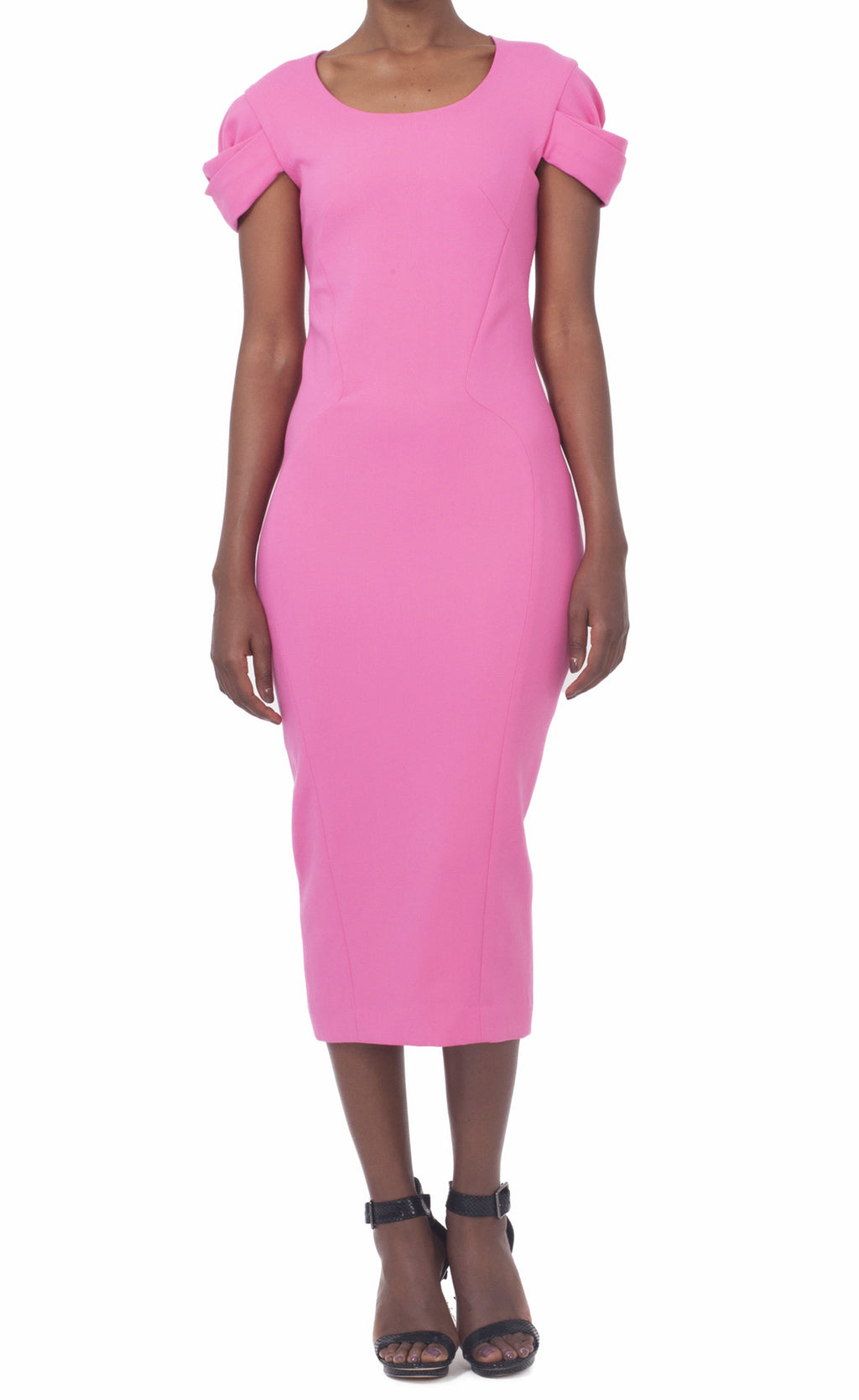 Pink Round neck Dress with dropped sleeves
