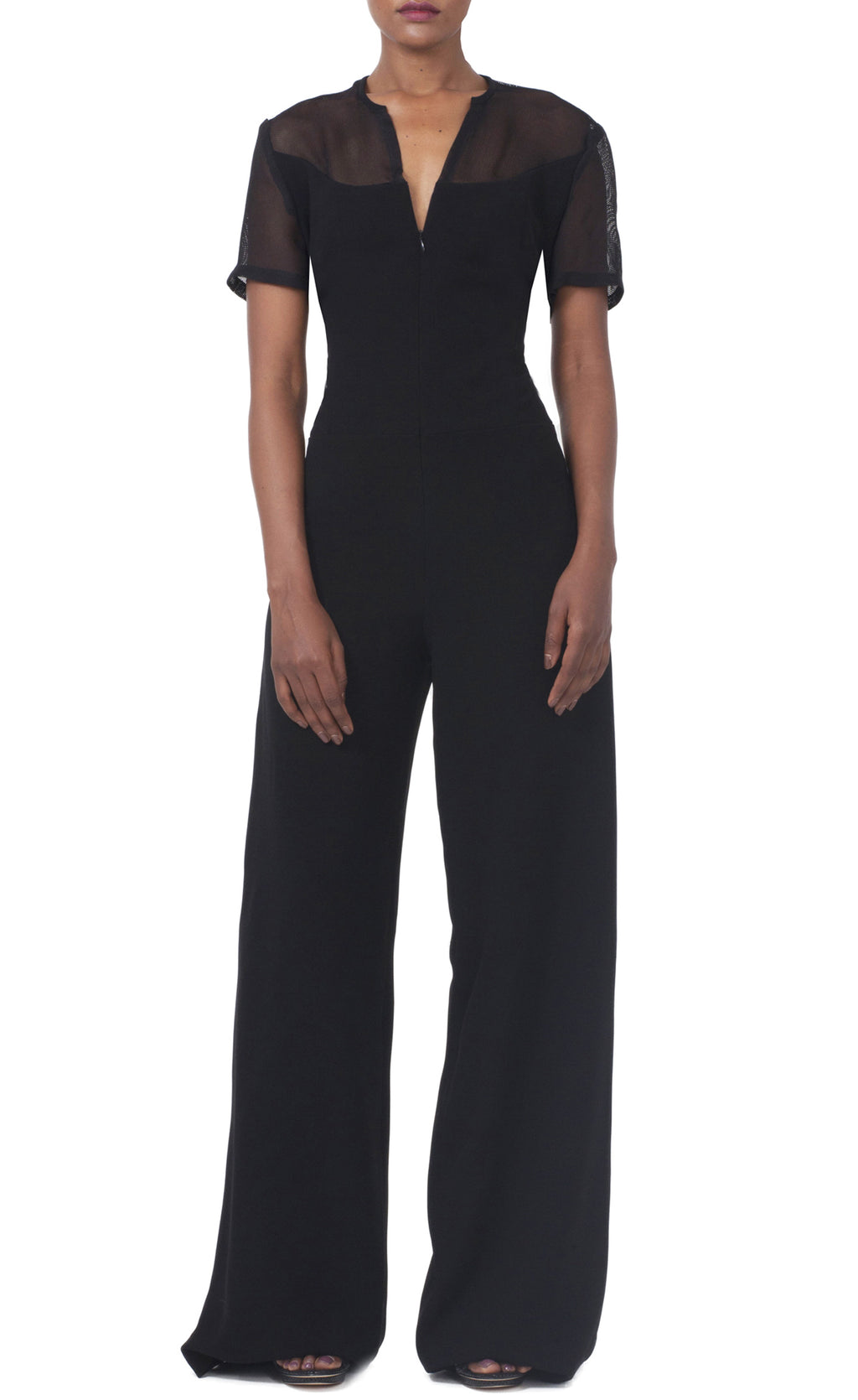Black Full Leg Jumpsuit with Semi-sheer top back