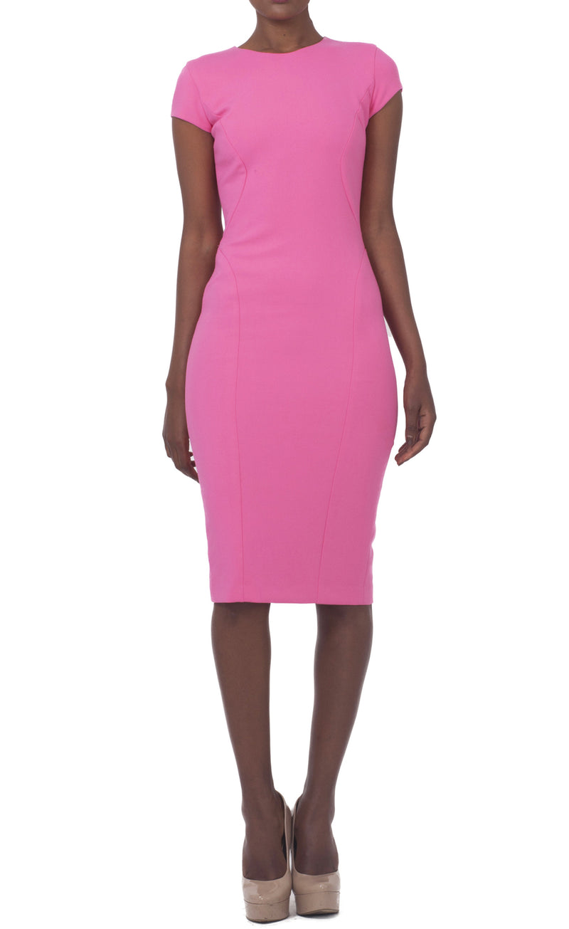 Roundneck Pink Dress with Cap Sleeves