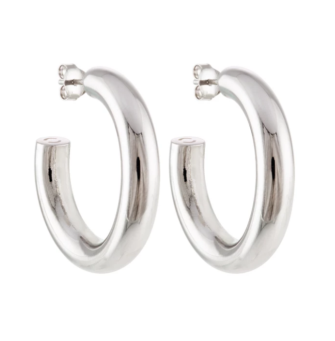 "Machete 1"" Perfect Hoops in Silver"