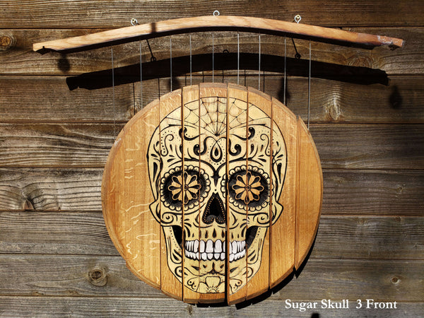 Sugar Skull 3 Wine Chime - Double Sided