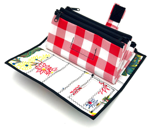 Floral and Red Checkered Women's Wallet