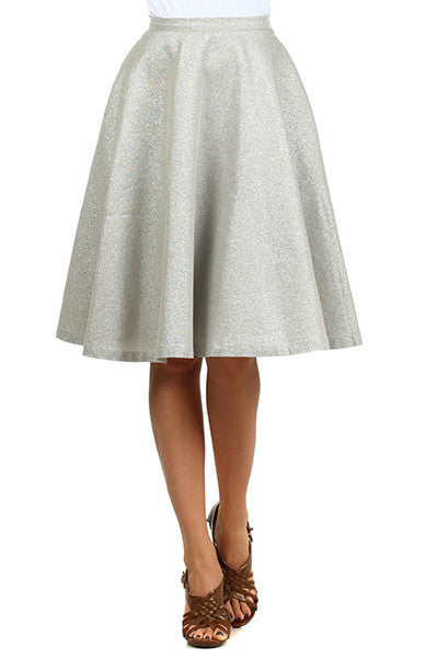 High Waist Full Skirt - Silver