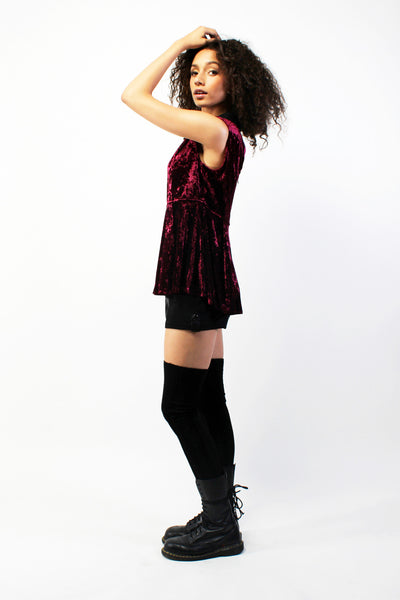 The Craft Velvet Peplum Top  - Spilt Wine