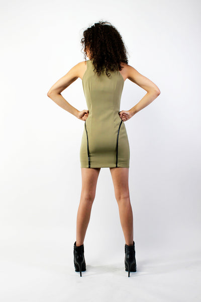 Python Paneled Zip Up Dress - Army Green
