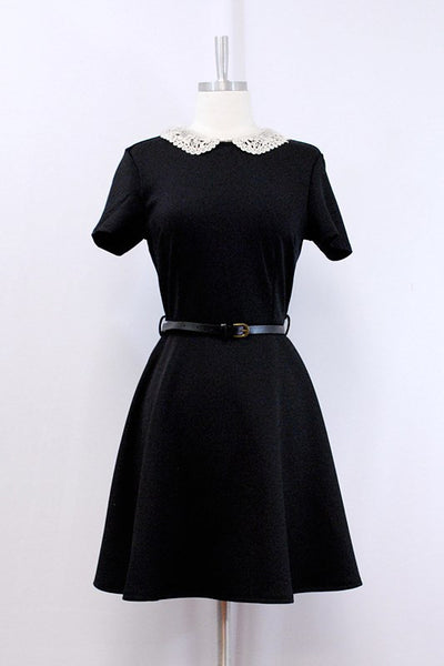 Scuba Dress with Lace Collar