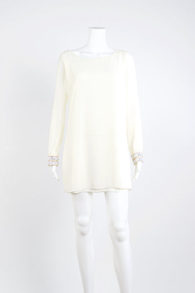 Long Sleeve Chiffon Dress - Ivory