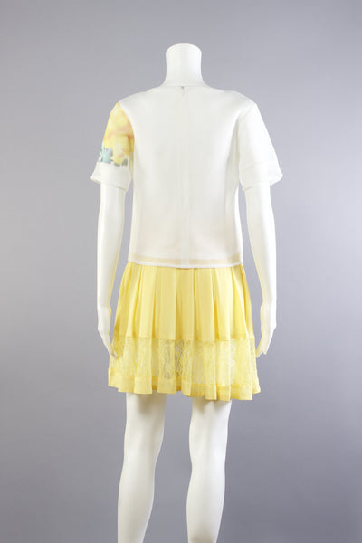 Lace Panel Skirt - Yellow