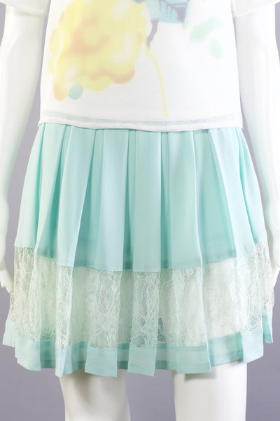 Lace Panel Skirt - Jade