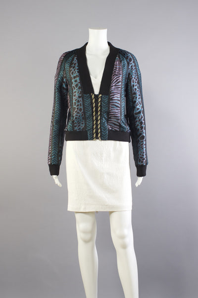 Tomcat Silk Printed Jacket - Teal