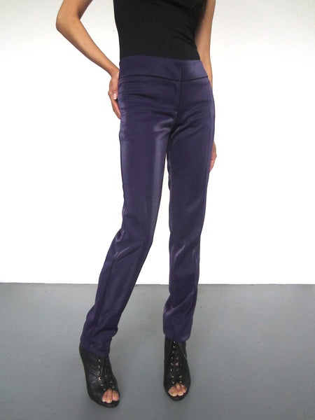 Stella Metallic Slim Trousers - Purple