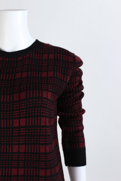 Grid Print Pullover Sweater