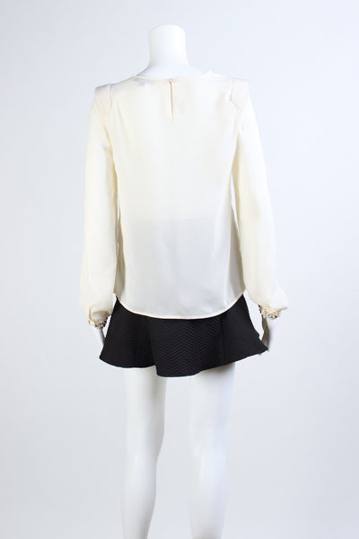 White Blouse with Fur Shoulder