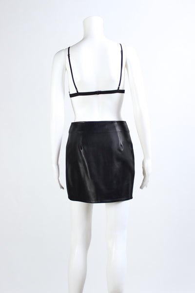 Leather Biker Skirt - Black