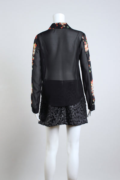 Floral Collar Blouse - Black