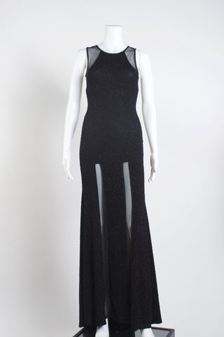 Lama Su Mesh Textured Gown