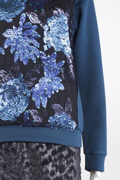 Floral Sequin Top - Ming Teal