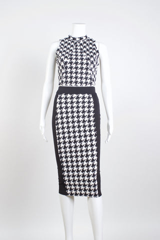 Houndstooth Cropped Top + Midi Skirt Set