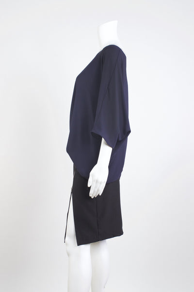 Soft Pleat Blouse Top - Navy
