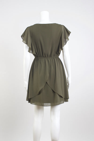 Heidi Silk Ruffle Dress - Olive
