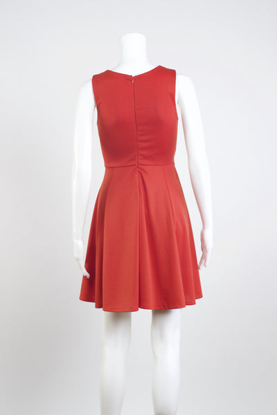 Front Pleat Knit Dress - Red Flame