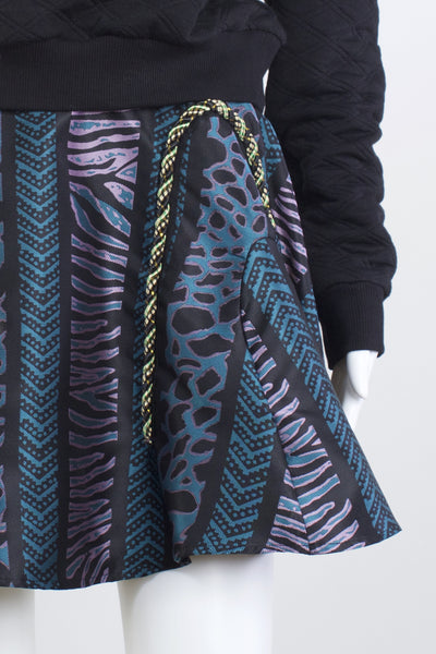Animal Silk Printed Skirt -Teal