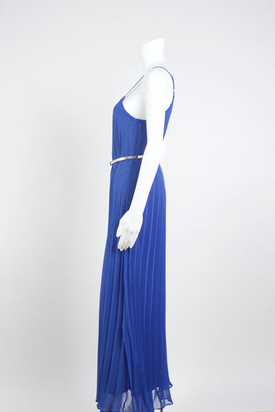 Silk Gladiator Maxi Dress - Royal Blue