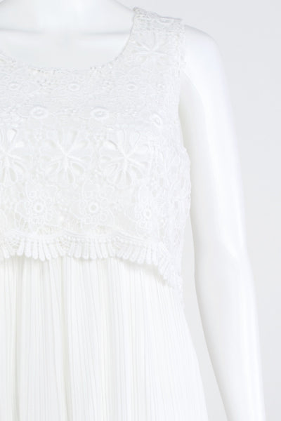 White Lace and Pleat Dress