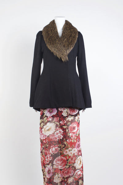 Zhivago Fur Collar Coat - Black